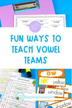 Looking for engaging vowel teams worksheets activities to help your kindergarten, first grade or second grade students learn the long vowel spelling patterns? These pages get kids spelling and writing words with vowel teams in them. Introduce the vowel team with the posters and then consolidate them with the worksheets and activities. #vowelteams #phonicsworksheets
