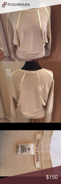 Alice + Olivia Cream & Gold Sweater Only worn twice! In excellent condition! Very comfortable! Alice + Olivia Sweaters