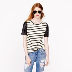 leather sleeves stripes top