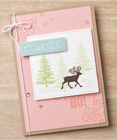 We love this non-traditional color palette for Christmas cards. Order your set of the Stitched Shapes Framelits and follow the link back to get instructions and supply lists! #stampinup #stitchedwithlove