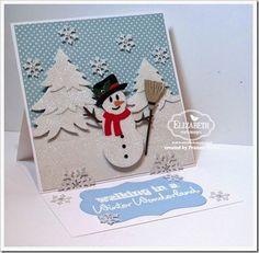 Created by Frances Byrne All Season Tree (snowflakes); Katie Label Accordion; Outdoor Edges – Karen Burniston for Elizabeth Craft Designs; Snowman Stand-Up Helpers Set 2; 5 Part Pine – Elizabeth Craft Designs