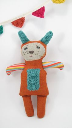 Stuffed Toy Animal Bunny Rabbit Softie Rust Turquoise by MeandTex, $30.00