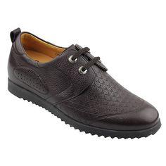 Increasing Height 2.15 Inch Brown Wax Variable Kraft Men'S Casual Shoes Get Taller 5.5 Cm