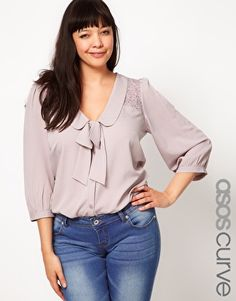 Grey Plus Size Blouse With Lace - $53.02 | Asos Curve [Plus Size Clothing]