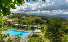 Swimming pool at Borgo Corsignano in Tuscany