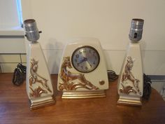 Vintage Session Deer Desk Mantel Clock w/ Matching Lamps Howell China 22 Kt Gold