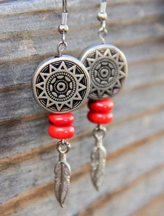 ec2e4849b Bohemian Red Coral Sun & Silver Feather Earrings Native American  Baskets, Feather Earrings,