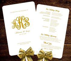 Wedding Fan Program Template Gold Monogram DIY by BabiesLove2Party