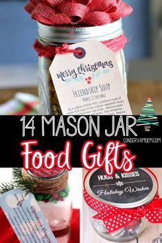 Looking for some fun and unique DIY Homemade gifts? Check out this fun list of 14 Mason Jar Food Gifts. #Foodgifts #masonjar