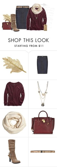 """""""♥ burgundy and gold ♥"""" by janna-raub ❤ liked on Polyvore featuring Colette Malouf, True Religion, Aerie, Betsey Johnson, H&M, Michael Kors, Style & Co., Samsung, SIYU and gold"""
