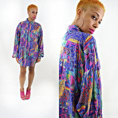 vintage 90s SILK colorful ABSTRACT print oversize button up shirt by PasseNouveauVintage, $24.00