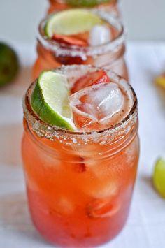 Strawberry Long Island Iced Tea - Ingredients: 15ml Vodka, 15ml Tequila, 15ml Rum, 15ml Gin, 15ml Triple Sec, 45ml Sweet & Sour Mix, Splash of Strawberry Margarita/Daiquiri Mix
