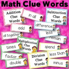 Math Clue Words for Addition, Subtraction, Multiplication, and Division