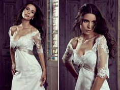 Lace sleeves and a sexy scoop neck are divine in this Elizabeth Stocktenstrom #Wedding dress.