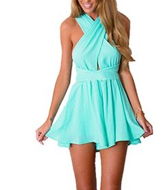 Anermy Women Sexy Deep Vneck Sleeveless Cross Bandage Solid Romper Jumpsuit Light Blue Xlarge * Want additional info? Click on the image.