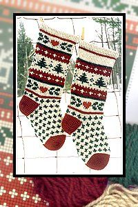 free knitting patterns, yarns and knitting supplies - Annie's Woolens Evergreen Stocking Kit