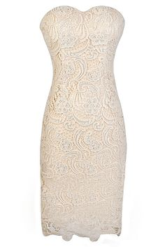 Crochet With Me Strapless Crochet Lace Dress in Beige  www.lilyboutique.com