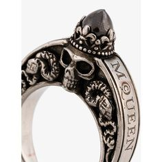Alexander Mcqueen Engraved Skull Ring ❤ liked on Polyvore featuring men's fashion, men's jewelry, men's rings, mens skull rings and mens engraved rings