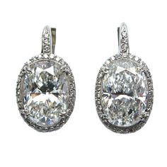Oval Diamond Drop Earrings   From a unique collection of vintage drop earrings at https://www.1stdibs.com/jewelry/earrings/drop-earrings/