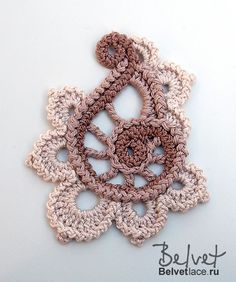 Irish Crochet Pattern from Belvet: http://www.irishcrochetlab.com/#!product/prd3/2597829781/irish-crochet-pattern.-beige-flower-%232.