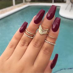 Matte nail polish coffin nails maroon matte manicure french tip square shaped long nails cute summer fall spring fingernails gel nails shellac juice matte Gorgeous Nails, Pretty Nails, Amazing Nails, Stunning Makeup, Nice Nails, Perfect Nails, Matte Nail Polish, Gold Polish, Coffin Nails Matte