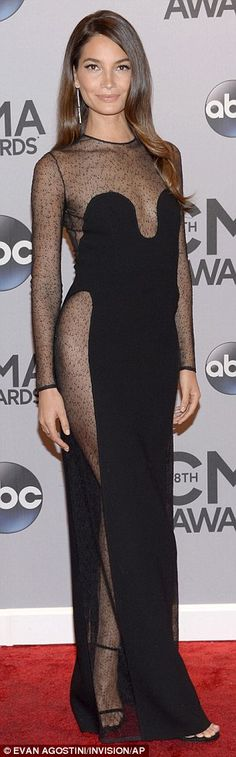 Lily Aldridge in VERY risque black dress at the CMAs | Daily Mail Online