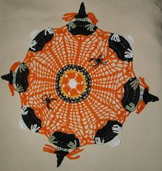 Halloween Witches & Skeletons in Cauldrons Crochet Doily by vjf25