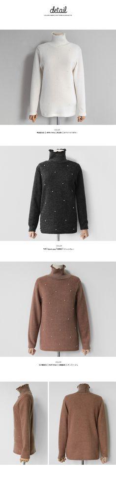 パールポイントハイネックTシャツ・全3色