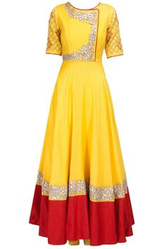 Yellow and red gota embroidred anarkali set available only at Pernia's Pop-Up Shop.