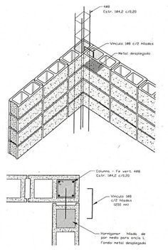 Detalle columna 20x20cm Concrete Formwork, Concrete Block Walls, Concrete Footings, Reinforced Concrete, Building Structure, Steel Structure, Building A House, Architecture Blueprints, Architecture Details