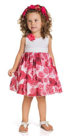 Vestido Estampa Rosas Ninali - Compre em: www.pigchicbebe.com.br