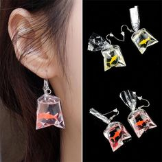 Buy Novelty Women Girls Goldfish Water Bag Shape Dangle Hook Earrings Charm 1 Pair at Wish - Shopping Made Fun Weird Jewelry, Cute Jewelry, Bridal Jewelry, Jewelry Gifts, Jewelery, Women Jewelry, Fashion Jewelry, Body Jewelry, High Jewelry