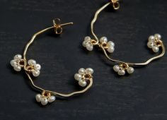 Pearl Beads Hoop Earrings Flower Vine Gold Filled Bridal Wedding Pretty Jewelry