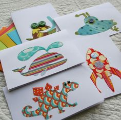 Handmade cards <3    Love the basic shapes cut with patterned paper on a white card. What a great way to use scraps.