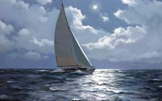 Original Painting by James Brereton - 'A NIGHT TIME SAIL' from London Gallery Burlington Paintings specialising in and Century British and European Oil Paintings Sailboat Racing, Sailboat Painting, Video Clips, Night Time, Background Images, Sailing Ships, Wallpaper Backgrounds, Wallpaper Downloads, Tall Ships