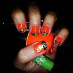 Orange camo browning nails