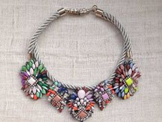"""Crystal Statement Necklace with Cluster Flowers and Double Cord Chain 18.5"""""""
