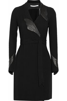 diane von furstenberg leather-detailed crepe wrap dress | fall 2013