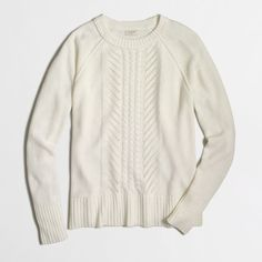 J.Crew Factory pointelle cable-knit sweater ($35) ❤ liked on Polyvore featuring tops, sweaters, j.crew, j crew sweaters, cableknit sweater, j crew top and cable sweater