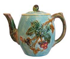 Antique Majolica Pottery Teapot