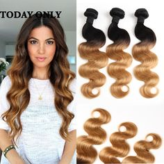 Ombre Peruvian Virgin Hair Body Wave Grade 10A  2 Tone Human Hair Weft Extensions 3Pcs  Ali Hair Product Omber Body Wave //Price: $78.87 & FREE Shipping //     #hairextension #style #beauty #woman #love