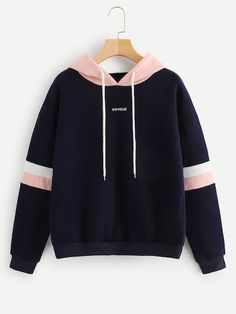 Navy Contrast Panel Drawstring Hoodie Sweatshirt Long Sleeve Pullovers Women Hoodies Autumn Casual Sweatshirts Size S Color Navy Blue Stylish Hoodies, Unique Hoodies, Mode Kawaii, Lolita Mode, Teen Fashion Outfits, Emo Outfits, Summer Outfits, Punk Fashion, Fashion Clothes