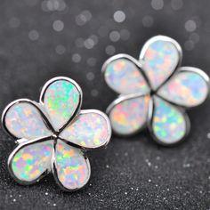 Fashion Flower Stud Earrings Opal Ear Stud Earrings for Women Ladies Girls
