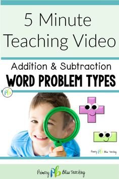 First graders need to know how to solve addition and subtraction problems with the unknown in all positions. Here we have a short 5 minute video that explains all of the addition and subtraction word problem types. First Grade Lessons, First Grade Activities, First Grade Math, Math Lessons, Second Grade, Math Fact Fluency, Math Words, Math Lesson Plans, Math Word Problems