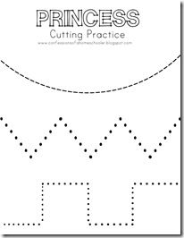 Princess Cutting Practice - Printable Page
