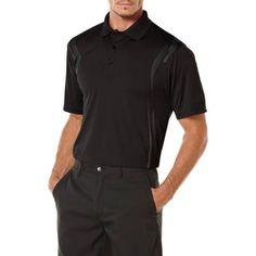 Ben Hogan Men's Golf Performance Skeletal Pigment Short Sleeve Polo Shirt, Black
