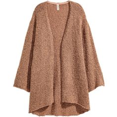 Wool-blend Bouclé Cardigan $29.99 ($30) ❤ liked on Polyvore featuring tops, cardigans, long tops, long brown cardigan, short-sleeve cardigan, drop shoulder tops and long sleeve cardigan