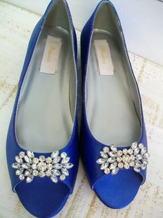 Blue Wedding Shoes 1/2 Inch Flat Peep Toe Crystal Bling Bridal Bride Bridesmaid Wedding Over 100 Colors Sapphire Blue Something Blue Wedding