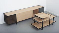 MIRAGE meuble de bois cerclé d'acier par le Studio Hekla