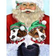 Precious Pet Paintings 3.33-Ft X 2.33-Ft Jack Russell Christmas Flag L